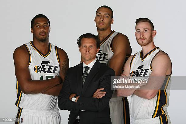 Derrick Favors Quin Snyder Head Coach Rudy Gobert and Gordon Hayward of the Utah Jazz pose for a photo during Media Day at Zions Basketball Center on...