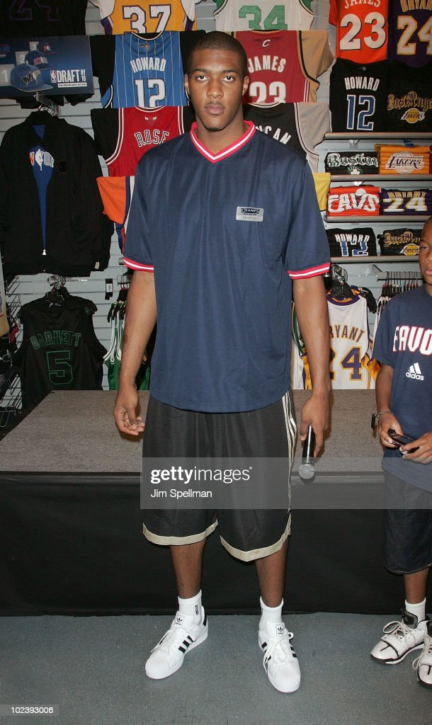 Derrick Favors visits Champs Sports on June 24 2010 in New York City