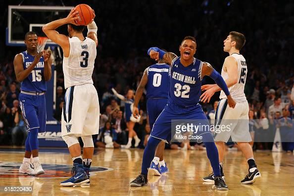 Derrick Gordon of the Seton Hall Pirates reacts against the Villanova Wildcats during the Big East Basketball Tournament Championship at Madison...
