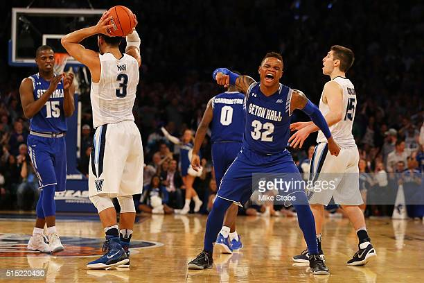 Derrick Gordon of the Seton Hall Pirates reacts against the Villanova Wildcats during the Big East Basketball Tournament Championship at Madison...