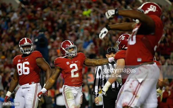 Derrick Henry of the Alabama Crimson Tide celebrates his rushing touchdown the LSU Tigers in the third quarter at BryantDenny Stadium on November 7...