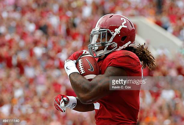 Derrick Henry of the Alabama Crimson Tide rushes in for a touchdown against the Tennessee Volunteers at BryantDenny Stadium on October 24 2015 in...
