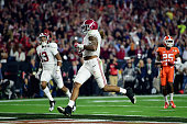 Derrick Henry of the Alabama Crimson Tide scores a 50 yard touchdown in the first quarter against the Clemson Tigers during the 2016 College Football...