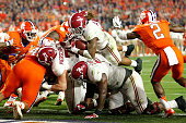 Derrick Henry of the Alabama Crimson Tide scores a one yard touchdown in the second quarter against the Clemson Tigers during the 2016 College...