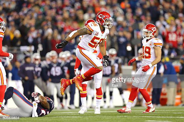 Derrick Johnson of the Kansas City Chiefs celebrates after a play against the New England Patriots during the AFC Divisional Playoff Game at Gillette...