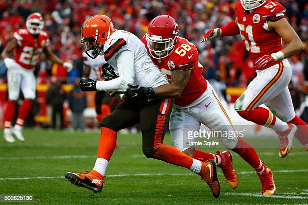 Derrick Johnson of the Kansas City Chiefs tackles Johnny Manziel of the Cleveland Browns at Arrowhead Stadium during the third quarter of the game on...