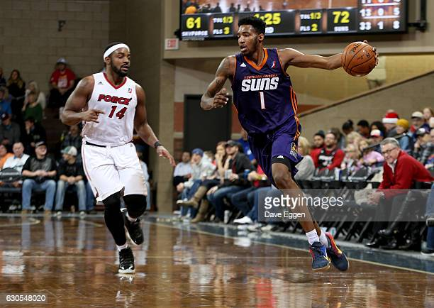 Derrick Jones Jr #1 from the Northern Arizona Suns pushes then all up court past Marcus Posley from the Sioux Falls Skyforce at the Sanford Pentagon...