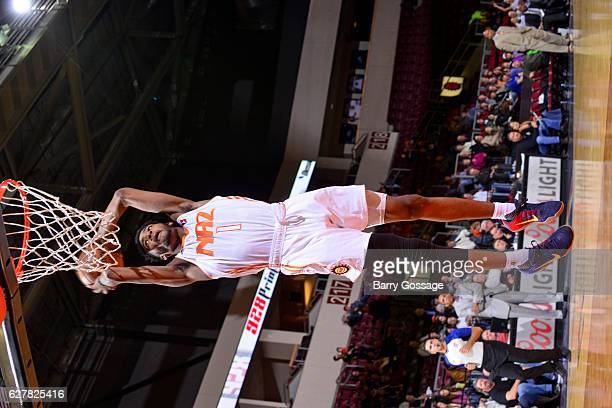 Derrick Jones Jr #1 of the Northern Arizona Suns drives to the basket against the Reno Bighorns on December 3 at Precott Valley Event Center in...