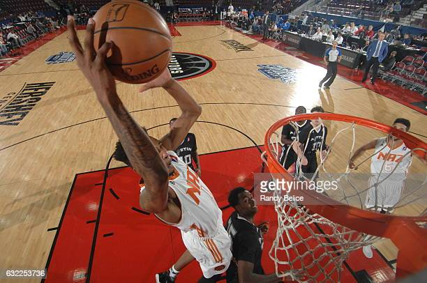 Derrick Jones Jr #1 of the Northern Arizona Suns dunks against the Austin Spurs as part of 2017 NBA DLeague Showcase at the Hershey Centre on January...