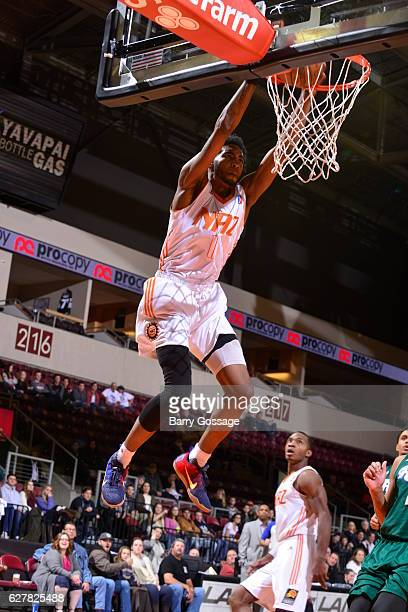 Derrick Jones Jr #1 of the Northern Arizona Suns dunks the ball against the Reno Bighorns on December 3 at Precott Valley Event Center in Prescott...