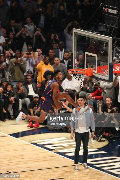 Derrick Jones Jr #10 of the Phoenix Suns competes in the Verizon Slam Dunk Contest during State Farm AllStar Saturday Night as part of the 2017 NBA...