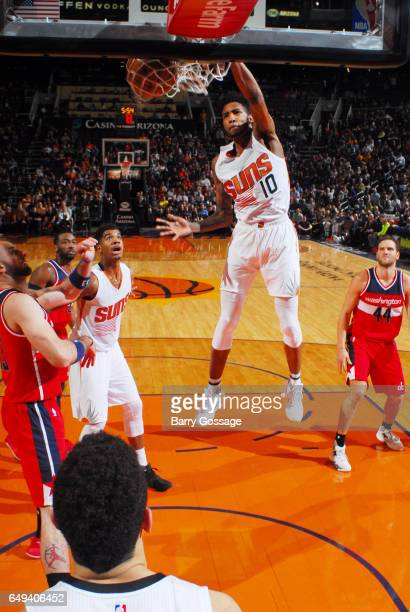 Derrick Jones Jr #10 of the Phoenix Suns dunks against the Washington Wizards during the game on March 7 2017 at Talking Stick Resort Arena in...