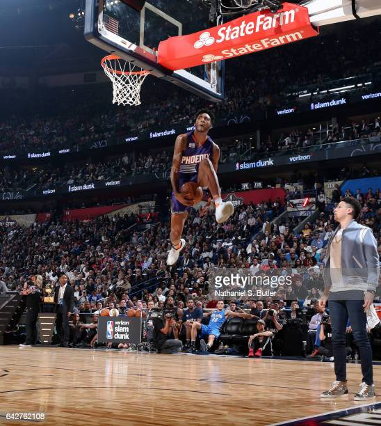 Derrick Jones Jr #10 of the Phoenix Suns dunks during the Verizon Slam Dunk Contest during State Farm AllStar Saturday Night as part of the 2017 NBA...