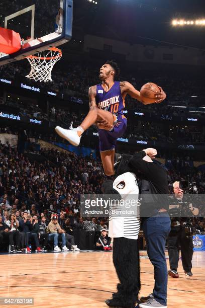 Derrick Jones Jr #10 of the Phoenix Suns dunks over the gorilla during the Verizon Slam Dunk Contest during State Farm AllStar Saturday Night as part...