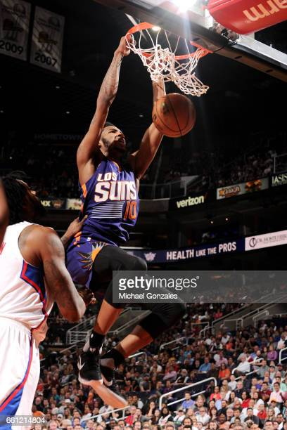 Derrick Jones Jr #10 of the Phoenix Suns dunks the ball during the game against the Los Angeles Clippers on March 30 2017 at US Airways Center in...