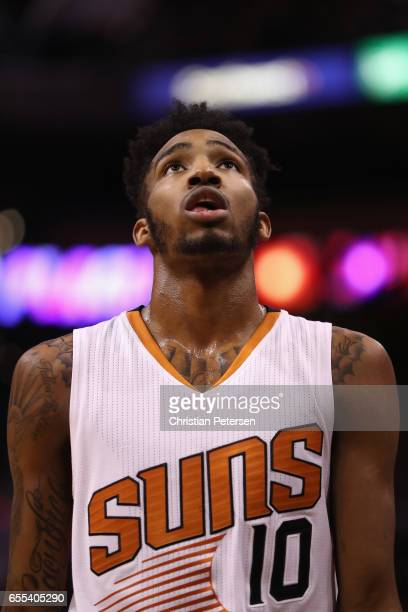 Derrick Jones Jr #10 of the Phoenix Suns during the second half of the NBA game against the Oklahoma City Thunder at Talking Stick Resort Arena on...