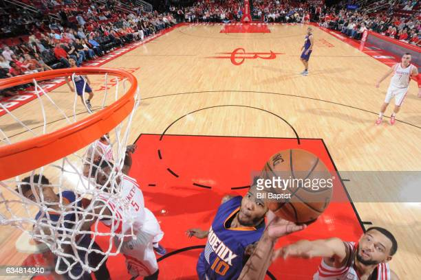 Derrick Jones Jr #10 of the Phoenix Suns goes to the basket against the Houston Rockets on February 11 2017 at the Toyota Center in Houston Texas...
