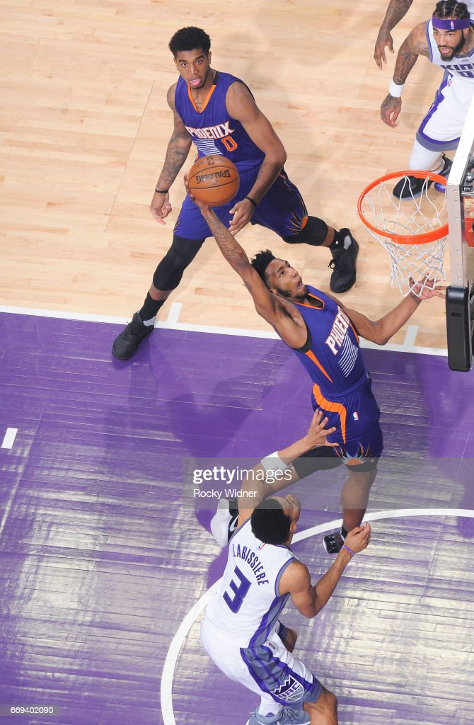 Derrick Jones Jr. #10 of the Phoenix Suns goes up for the shot against the Sacramento Kings on April 11, 2017 at Golden 1 Center in Sacramento, California.