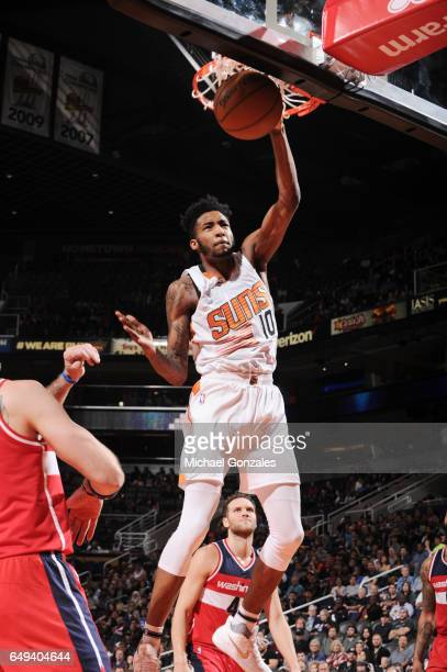 Derrick Jones Jr #10 of the Phoenix Suns grabs the rebound against the Washington Wizards during the game on March 7 2017 at Talking Stick Resort...