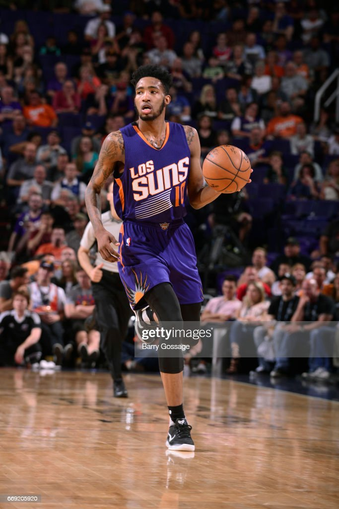 Derrick Jones Jr. #10 of the Phoenix Suns handles the ball against the LA Clippers on March 30, 2017 at U.S. Airways Center in Phoenix, Arizona.