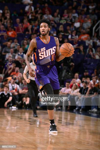 Derrick Jones Jr #10 of the Phoenix Suns handles the ball against the LA Clippers on March 30 2017 at US Airways Center in Phoenix Arizona NOTE TO...