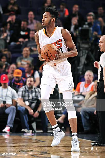 Derrick Jones Jr #10 of the Phoenix Suns handles the ball during the game against the Memphis Grizzlies on January 30 2017 at US Airways Center in...