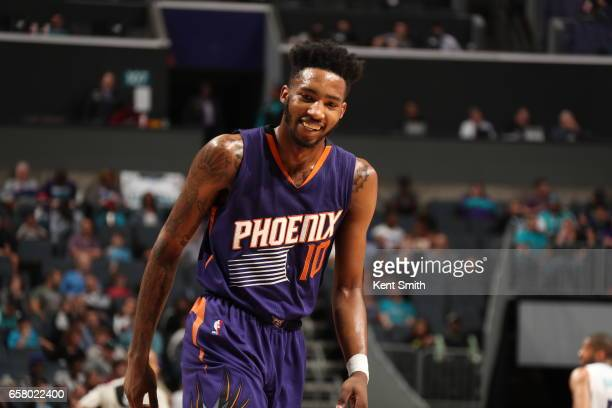 Derrick Jones Jr #10 of the Phoenix Suns is seen during the game against the Charlotte Hornets on March 26 2017 at Spectrum Center in Charlotte North...