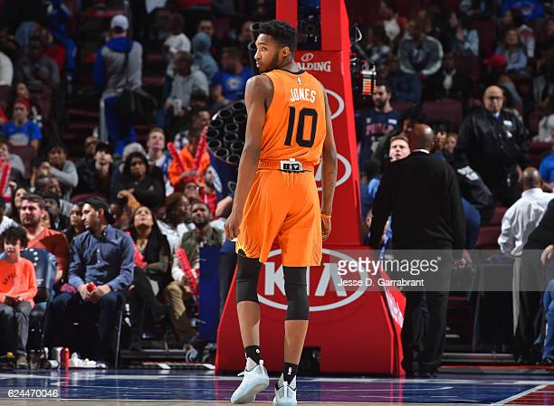 Derrick Jones Jr #10 of the Phoenix Suns looks on during his NBA Debut against the Philadelphia 76ers a game at the Wells Fargo Center on November 19...