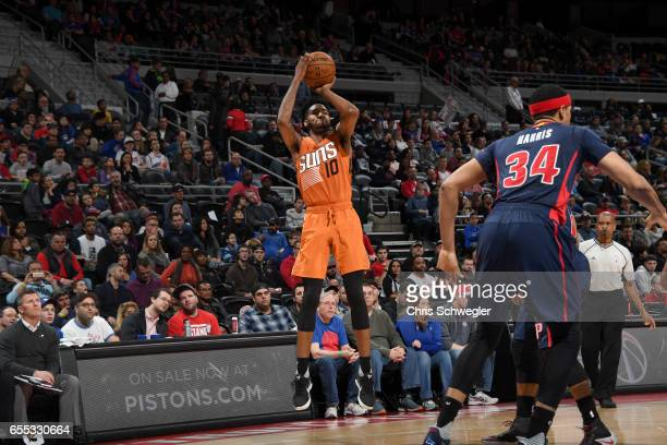 Derrick Jones Jr #10 of the Phoenix Suns shoots the ball against the Detroit Pistons on March 19 2017 at The Palace of Auburn Hills in Auburn Hills...