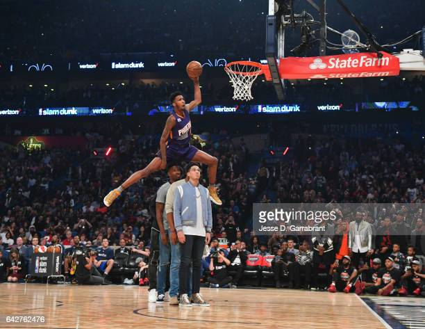Derrick Jones Jr of the Phoenix Suns attempts a dunk during the Verizon Slam Dunk Contest as part of 2017 AllStar Weekend at the Smoothie King Center...
