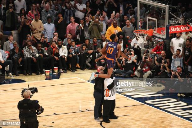 Derrick Jones Jr of the Phoenix Suns competes in the Verizon Slam Dunk Contest during State Farm AllStar Saturday Night as part of the 2017 NBA...