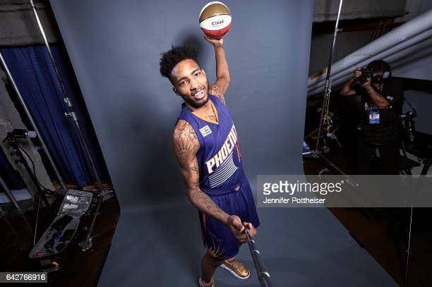 Derrick Jones Jr of the Phoenix Suns poses for a portrait during State Farm AllStar Saturday Night as part of 2017 AllStar Weekend at the Smoothie...