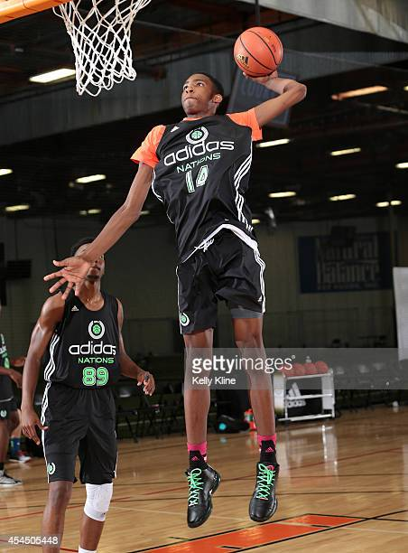 Derrick Jones with the dunk during the 2014 adidas Nations on August 1 2014 at Next Level Sports Complex in Garden Grove California