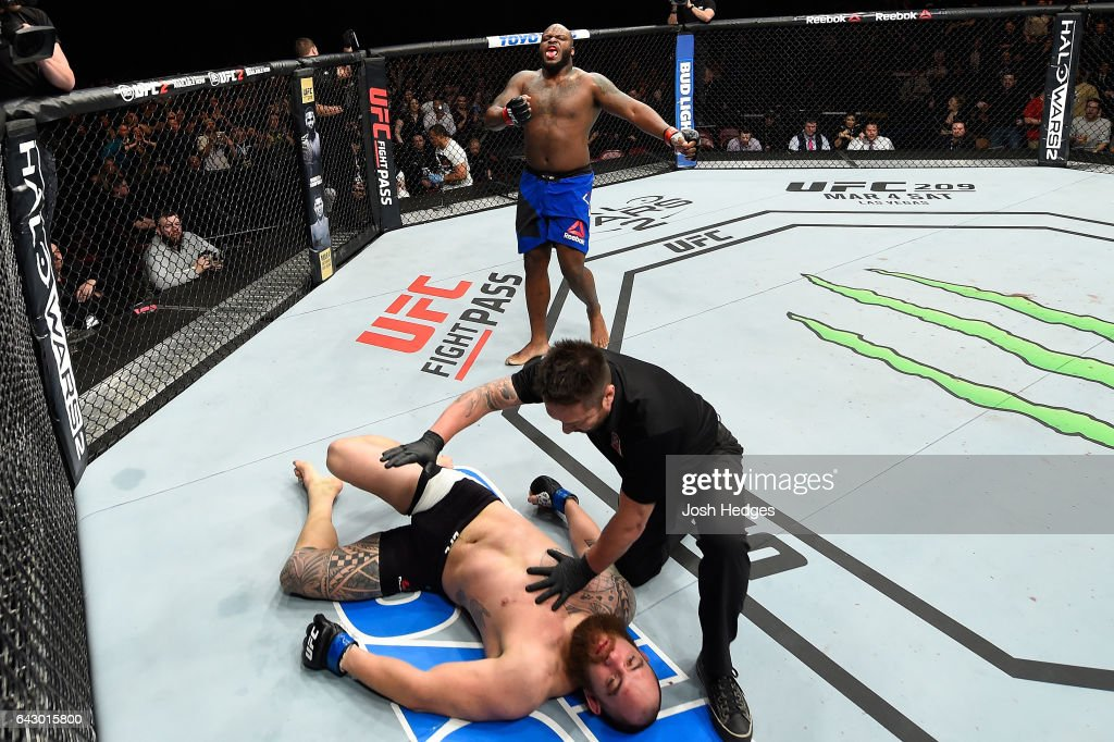 Derrick Lewis (top) celebrates after defeating Travis Browne in their heavyweight fight during the UFC Fight Night event inside the Scotiabank Centre on February 19, 2017 in Halifax, Nova Scotia, Canada.