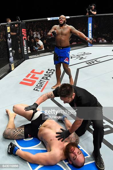 Derrick Lewis celebrates after defeating Travis Browne in their heavyweight fight during the UFC Fight Night event inside the Scotiabank Centre on...