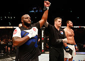 Derrick Lewis celebrates his knock out victory over Gabriel Gonzaga in their heavyweight bout during the UFC Fight Night event at the Arena Zagreb on...