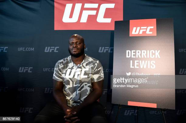 Derrick Lewis poses for a portrait during the UFC 216 Ultimate Media Day on October 4 2017 in Las Vegas Nevada