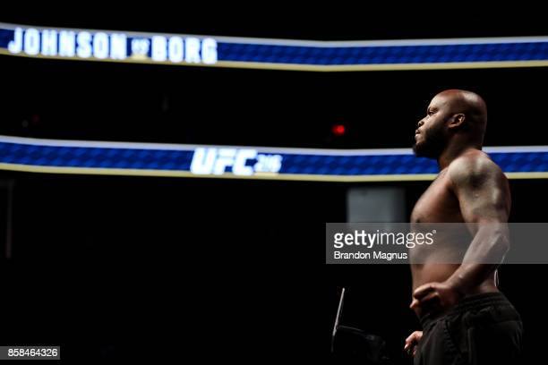 Derrick Lewis poses on the scale during the UFC 216 weighin inside TMobile Arena on October 6 2017 in Las Vegas Nevada