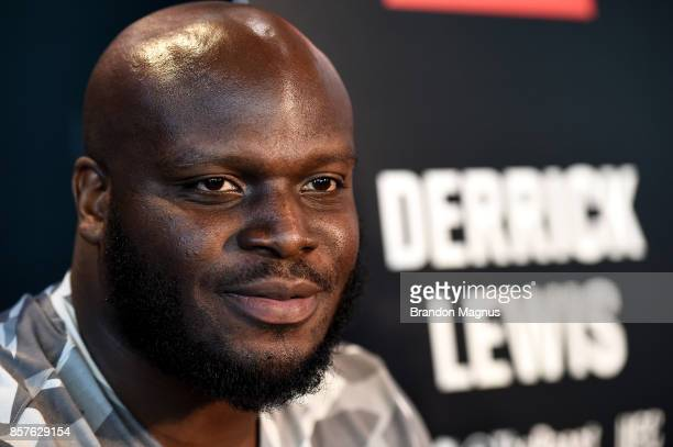 Derrick Lewis speaks to the media during the UFC 216 Ultimate Media Day on October 4 2017 in Las Vegas Nevada