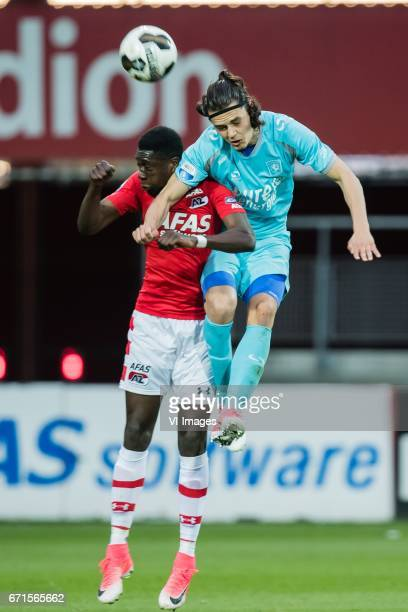 Derrick Luckassen of AZ Enes Unal of FC Twenteduring the Dutch Eredivisie match between AZ Alkmaar and FC Twente at AFAS stadium on April 22 2017 in...
