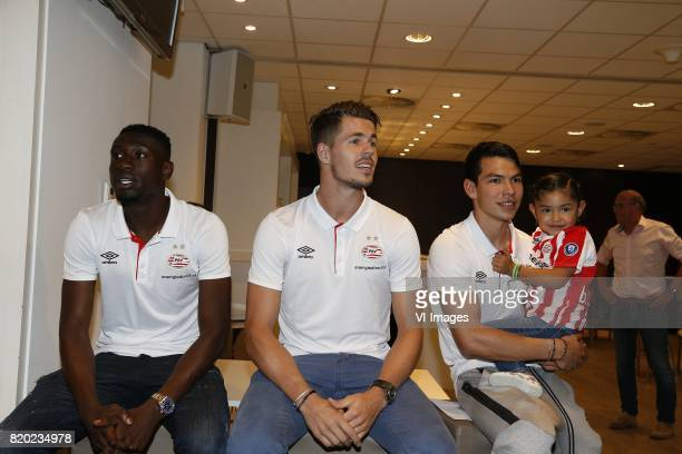 Derrick Luckassen of PSV Marco van Ginkel of PSV Hirving Lozano of PSV during the presentation of the new PSV players on July 21 2017 at Philips...