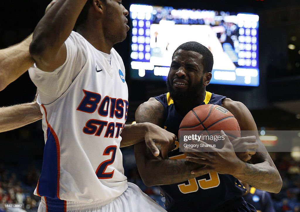 Derrick Marks #2 of the Boise State Broncos and Ramon Galloway #55 of the La Salle Explorers are involved in a small altercation in the second half during the first round of the 2013 NCAA Men's Basketball Tournament at University of Dayton Arena on March 20, 2013 in Dayton, Ohio.