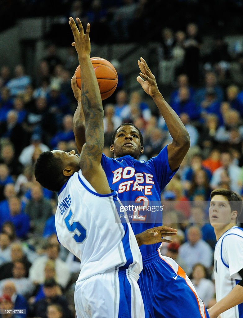 Derrick Marks #2 of the Boise State Broncos shoots over Josh Jones #5 of the Creighton Bluejays during their game at CenturyLink Center on November 28, 2012 in Omaha, Nebraska. Boise State beat Creighton 83-70.