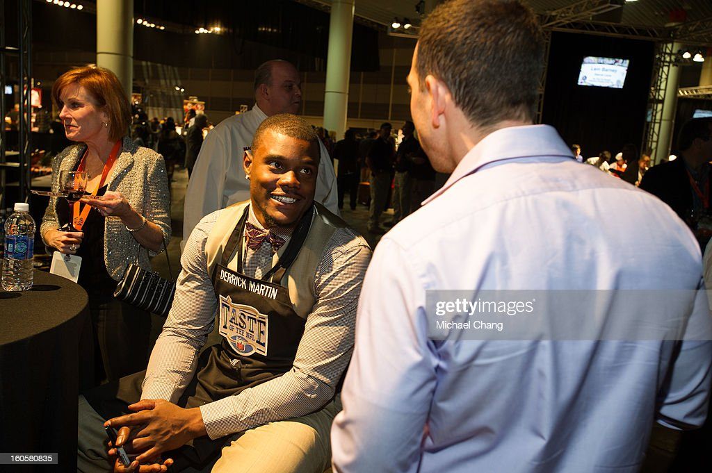 Derrick Martin speaks to a fan during the 2013 Taste of the NFL at the Ernest N. Morial Convention Center on February 2, 2013 in New Orleans, Louisiana.