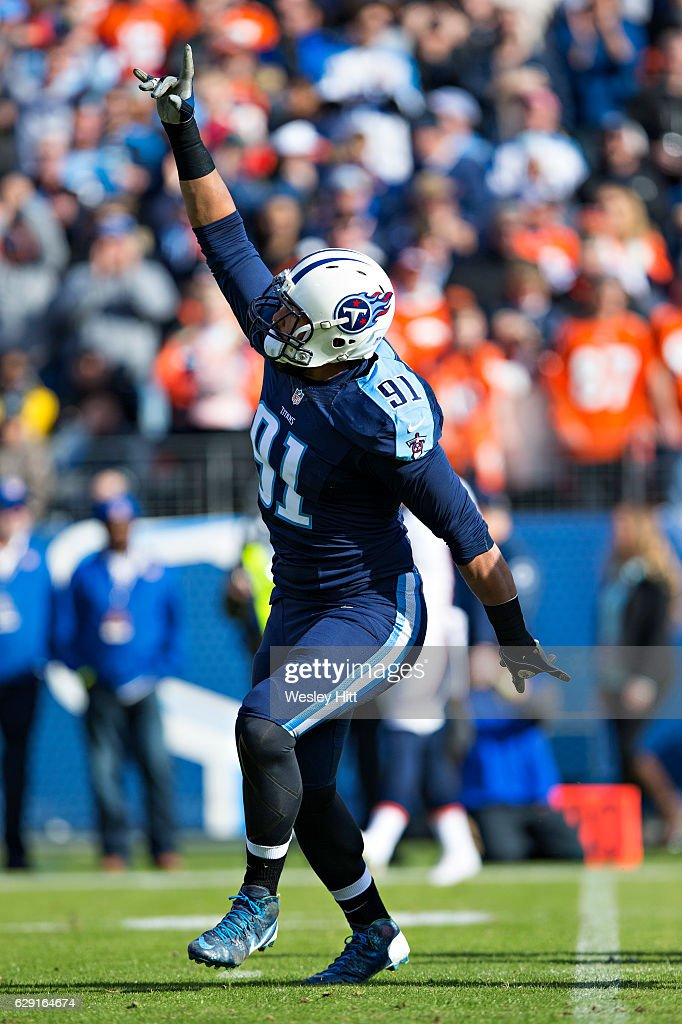 Derrick Morgan #91 of the Tennessee Titans celebrates after sacking the quarterback during a game against the Denver Broncos at Nissan Stadium on December 11, 2016 in Nashville, Tennessee. The Titans defeated the Broncos 13-10.