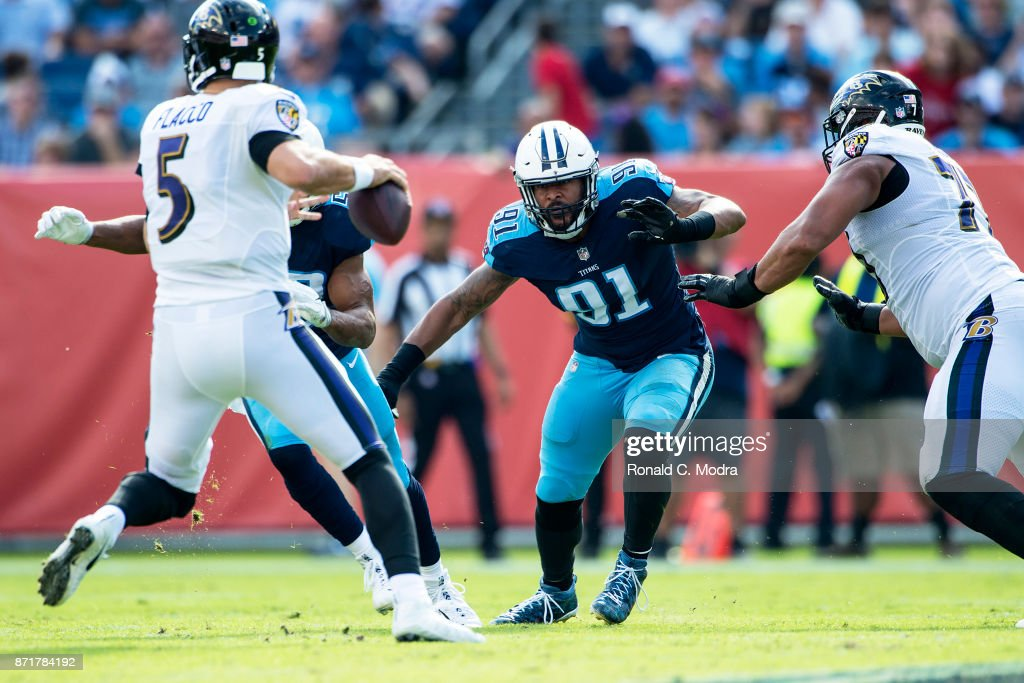 Derrick Morgan #91 of the Tennessee Titans in action during a NFL game against the Baltimore Ravens at Nissan Stadium on November 5, 2017 in Nashville, Tennessee.