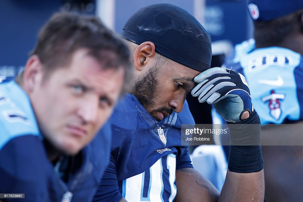 Derrick Morgan #91 of the Tennessee Titans reacts in the fourth quarter of the game against the Indianapolis Colts at Nissan Stadium on October 23, 2016 in Nashville, Tennessee. The Colts defeated the Titans 34-26.