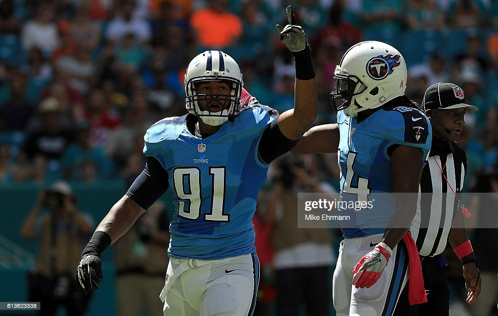 Derrick Morgan #91 of the Tennessee Titans reacts to a sack during a game against the Miami Dolphins on October 9, 2016 in Miami Gardens, Florida.
