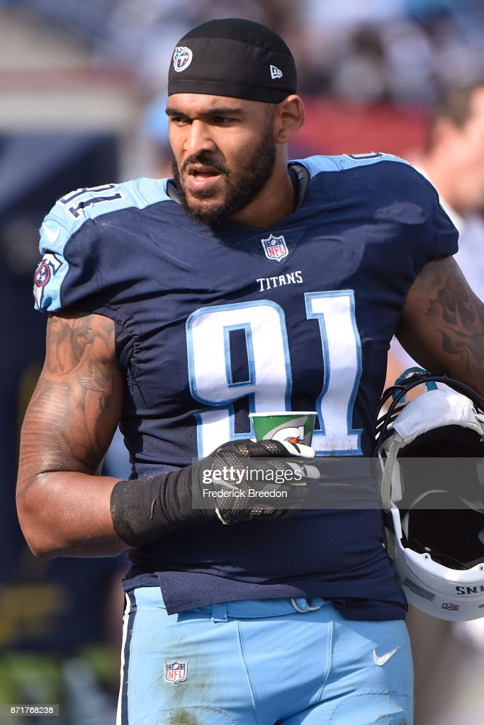 Derrick Morgan #91 of the Tennessee Titans watches from the sideline during a game against the Baltimore Ravens at Nissan Stadium on November 5, 2017 in Nashville, Tennessee.