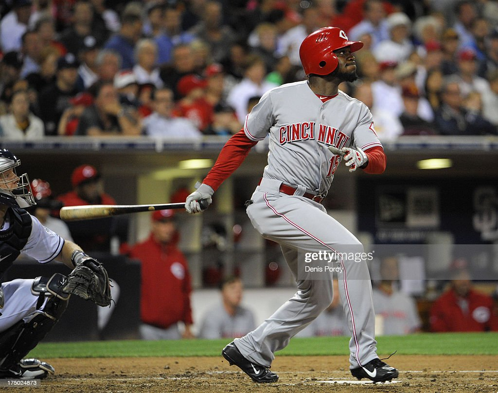 Derrick Robinson #15 of the Cincinnati Reds hits triples during the fifth inning of a baseball game against the San Diego Padres at Petco Park on July 29, 2013 in San Diego, California.